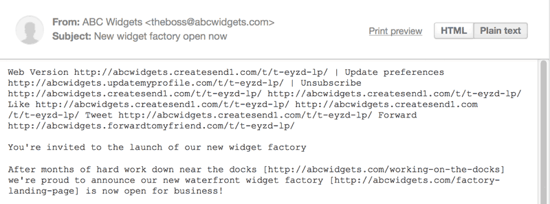 Plain text versions of html emails | Campaign Monitor