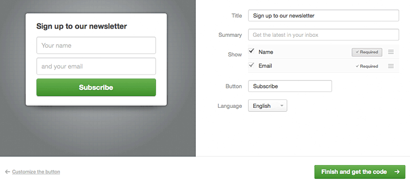 Add a subscribe button to your website   Campaign Monitor