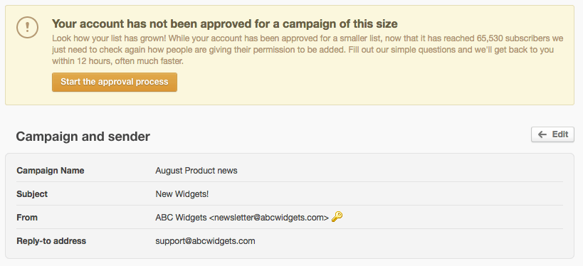 the approval process for sending emails campaign monitor
